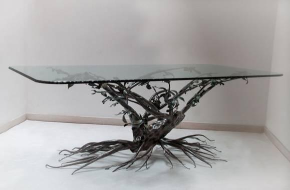 Wrought iron table tree decoration 523 wrought iron made for Ferro battuto di prinzio