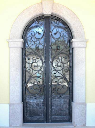 Hammered wrought iron entrance door