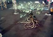 hand made wrought iron table representing a tree