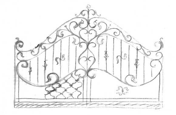 Wrought iron gate - Sketch