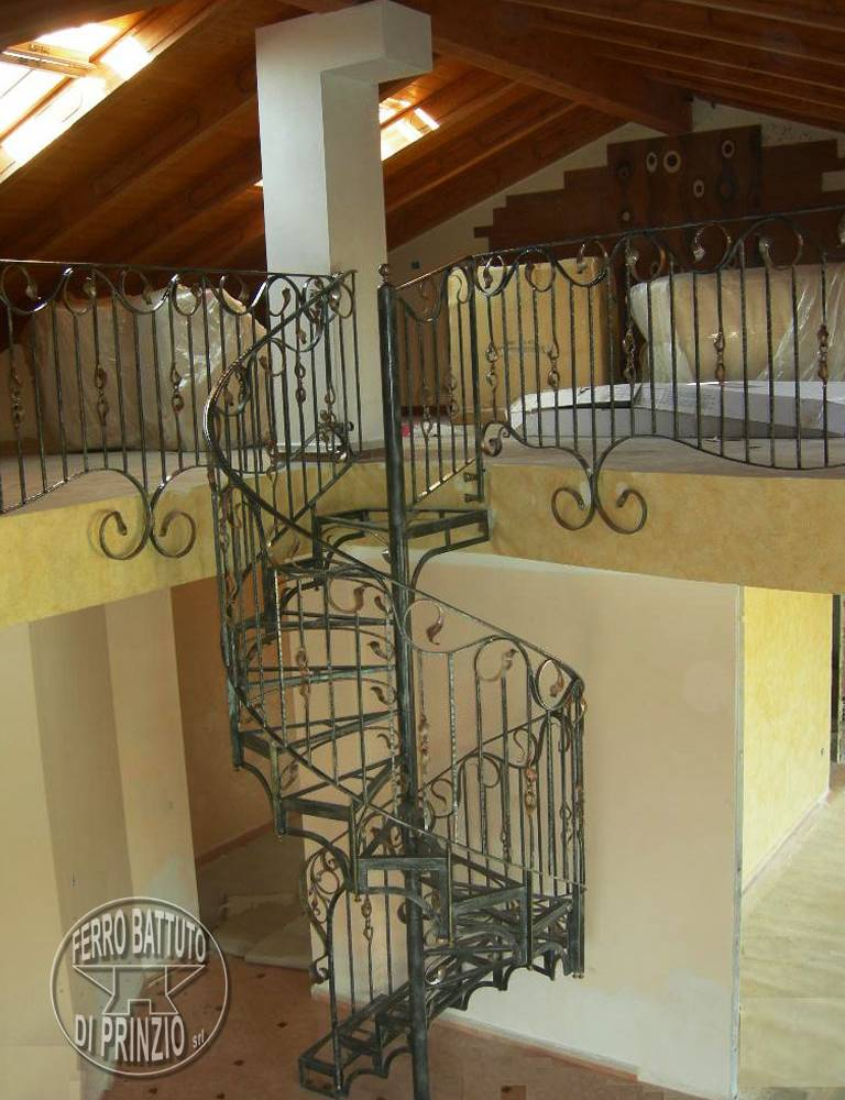 Spiral staircase in wrought iron