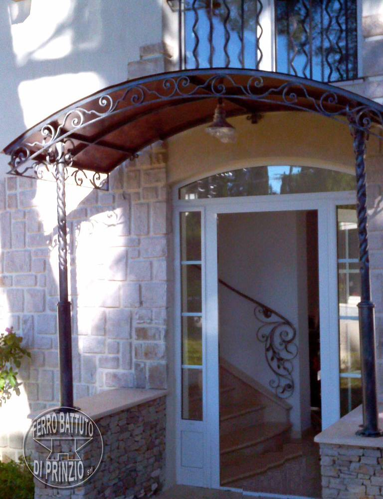 Wrought iron canopy with pillars