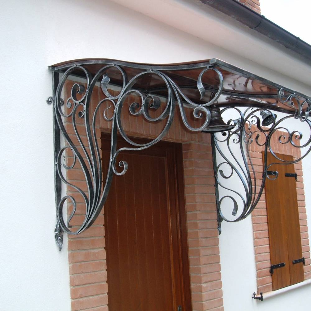 decorated wrought iron and copper canopy