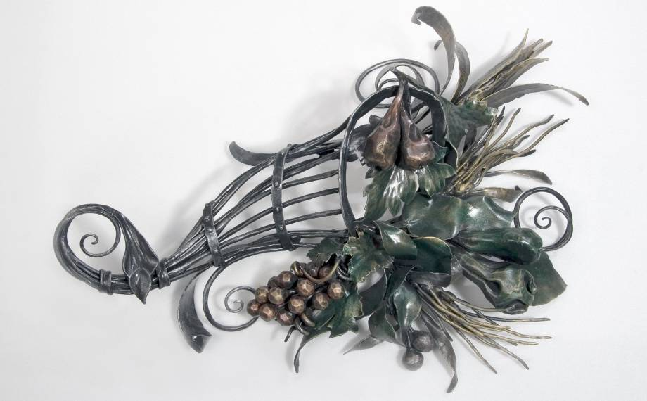 Wrought iron Sculpture in the shape of Cornucopia