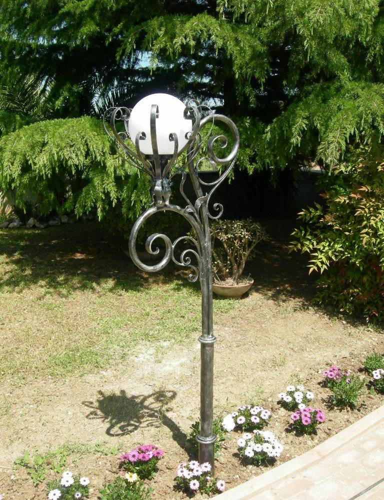 hand made and decorated wrought iron lamp for garden