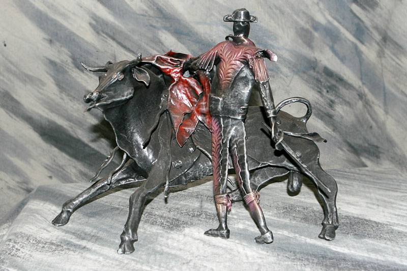 Wrought iron sculpture - The bull and the bullfighter