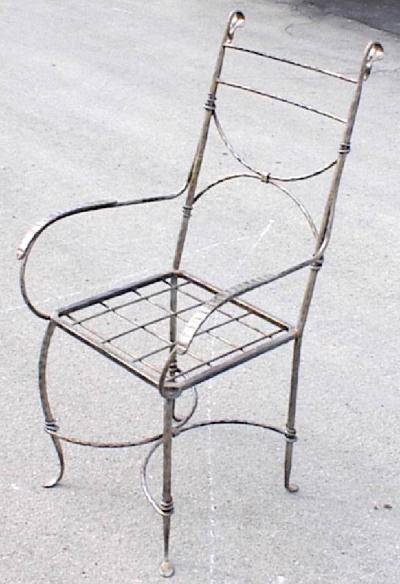 Straight chair in wrought iron
