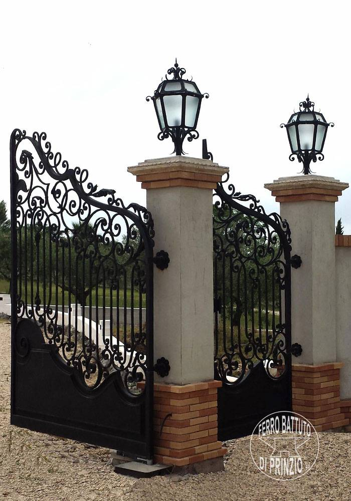 Wrought iron street lamps