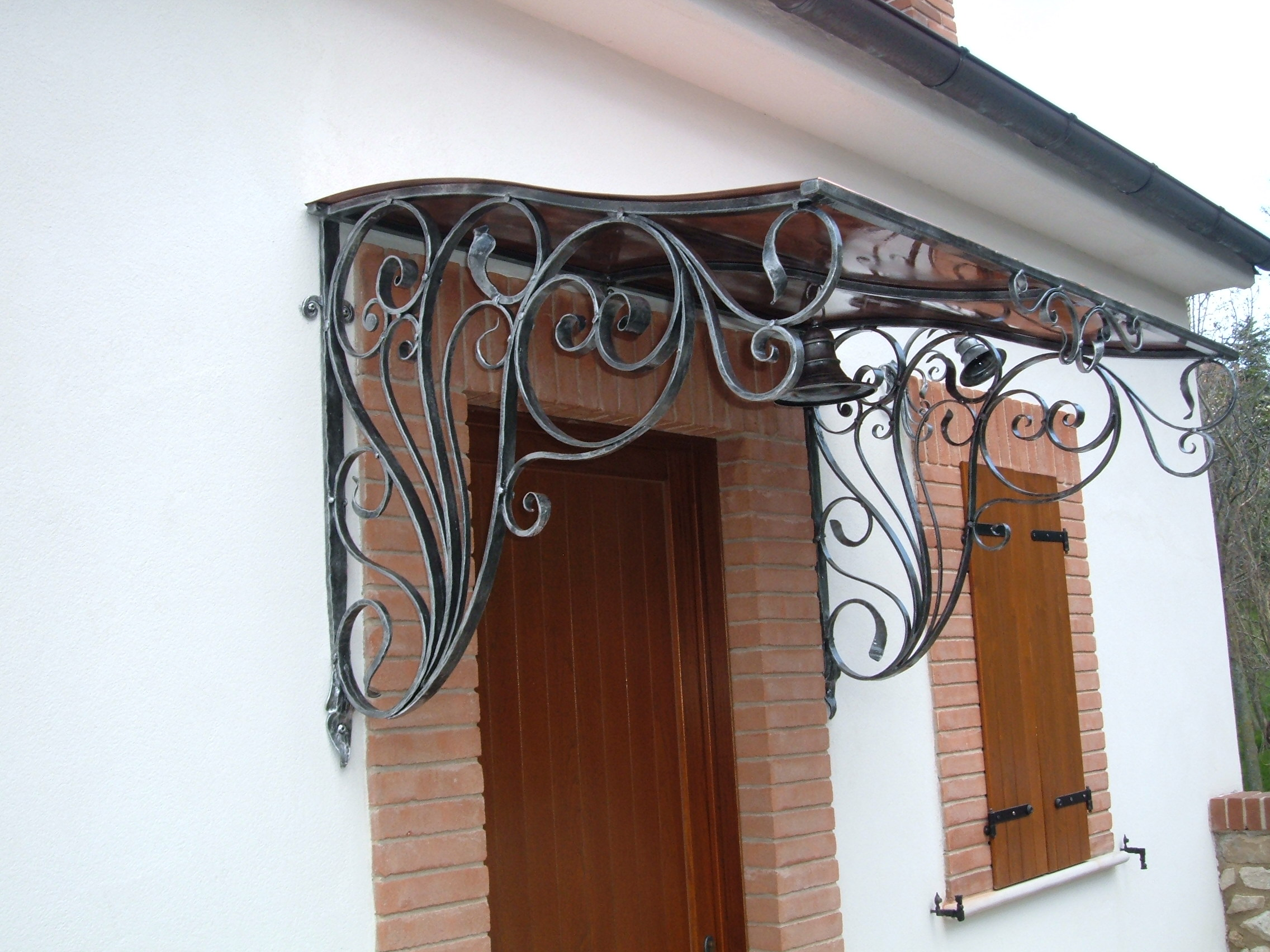 decorated wrought iron and copper canopy & Canopies: Wrought iron canopies canopies for terraces canopies ...